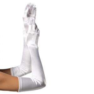Extra lange handschoenen satijn wit Leg Avenue