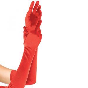 Extra lange handschoenen satijn rood Leg Avenue