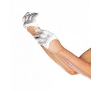 Korte handschoenen satijn wit Leg Avenue