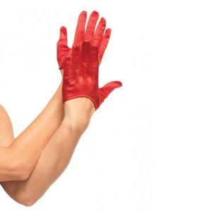 216-0006 Korte handschoenen satijn rood Leg Avenue
