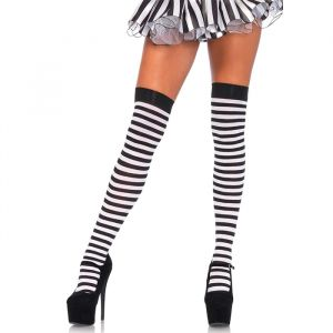 Hoge kousen gestreept zwart-wit Leg Avenue