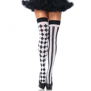 Hoge kousen harlequin zwart-wit Leg Avenue