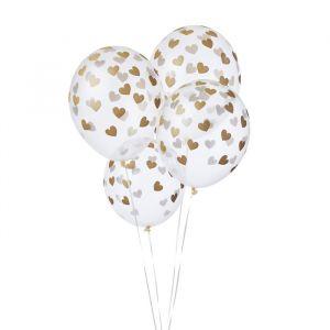 Transparante ballonnen hartjes goud (6st)