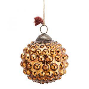 Glazen kerstbal Dots copper (10cm) Madam Stoltz