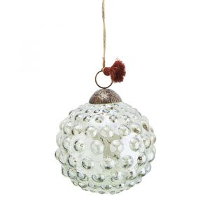 Glazen kerstbal Dots green luster (10cm) Madam Stoltz