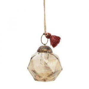 Glazen kerstbal Geometric brown luster (6cm) Madam Stoltz