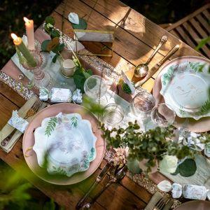 Tafelloper mousseline groen/grijs