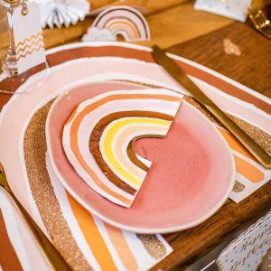Servetten Rainbow Love roze-goud (16st)