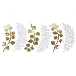Decoratie bladeren wit/goud