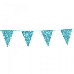 Slinger vlaggen glitter blauw (6m)