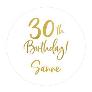 Etiket 35 mm rond birthday goud 30