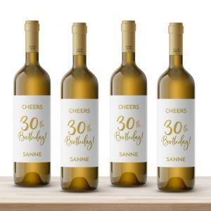 Wijnfles etiketten verjaardag birthday goud 30 (4st)