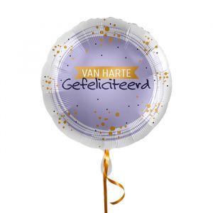 Folieballon Hartelijk gefeliciteerd lila