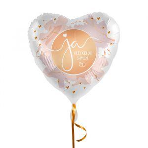 Folieballon hart Ja, veel geluk samen