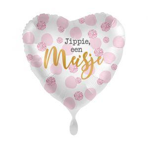 Folieballon hart Jippie een meisje (43cm)