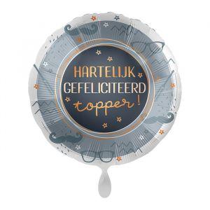Folieballon Hartelijk gefeliciteerd topper