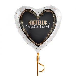 Folieballon hart Hartelijk Gefeliciteerd zwart
