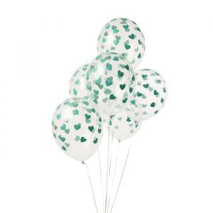 Transparante ballonnen hartjes mint (6st)