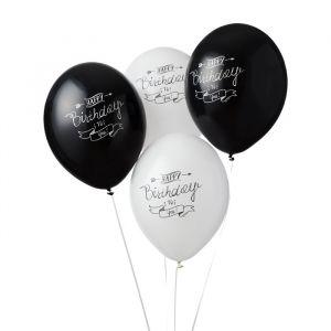 Ballonnen Happy Birthday Script zwart-wit (6st)