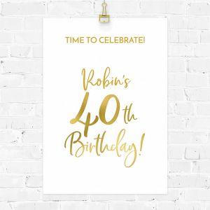 Verjaardag poster birthday goud 40