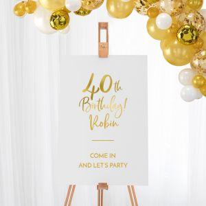 Welkomstbord verjaardag birthday goud 40