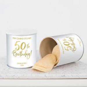 Chipsblikje verjaardag birthday goud 50