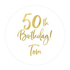 Etiket 35 mm rond birthday goud 50