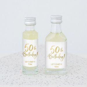 Mini flesje birthday goud 50