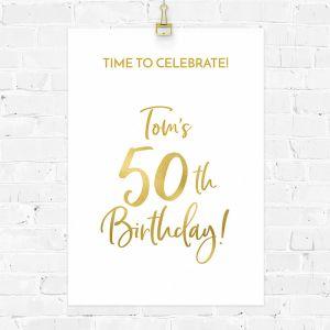 Verjaardag poster birthday goud 50