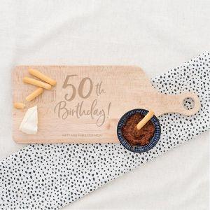 Houten serveerplank birthday goud 50