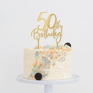 Taarttopper verjaardag birthday goud 50