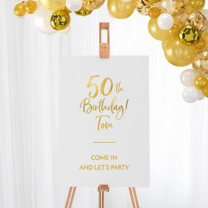 Welkomstbord verjaardag birthday goud 50