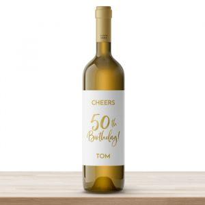 Wijnfles etiketten verjaardag birthday goud 50 (4st)