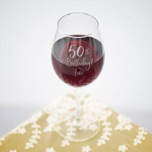 Wijnglas birthday goud met naam 50