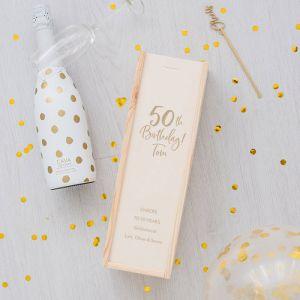 Houten wijnkist Birthday goud 50