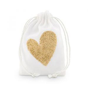 Bedankzakjes met glitter hart wit-goud (12st)