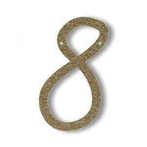 Cijfer 8 - Acryl slinger goud
