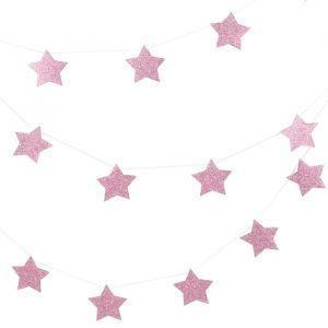 Glitter slinger Stars Roze (3m)