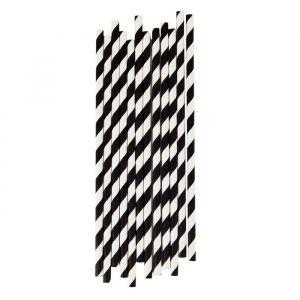 Papieren Rietjes Stripes Zwart