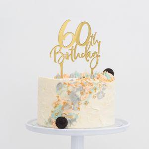 Taarttopper verjaardag birthday goud 60