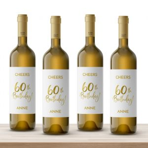 Wijnfles etiketten verjaardag birthday goud 60 (4st)