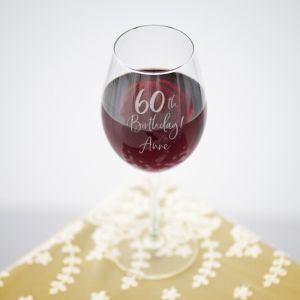 Wijnglas birthday goud met naam 60