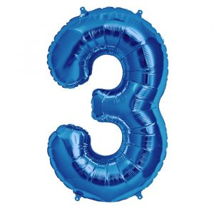 XL Folieballon 3 (90cm) Blauw