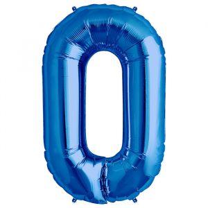 XL Folieballon 0 (90cm) Blauw