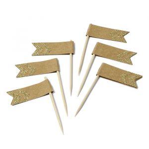 Prikkers met vlaggetjes kraft-goud (12st)