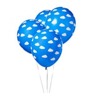 Ballonnen wolkjes blauw-wit (6st)