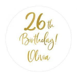 Etiket 35 mm rond birthday goud leeftijd