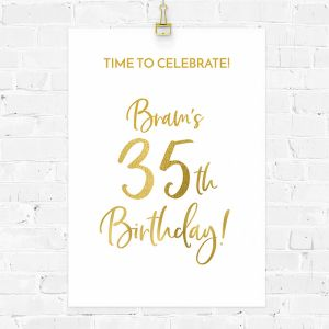 Verjaardag poster birthday goud leeftijd