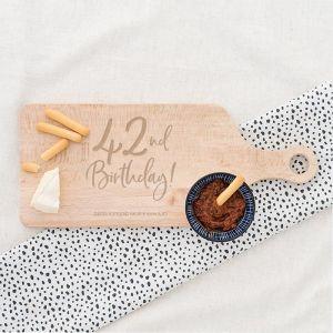 Houten serveerplank birthday goud leeftijd