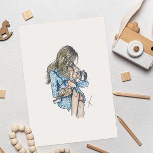 Borstvoedende moeder illustratie Sophie de Ruiter